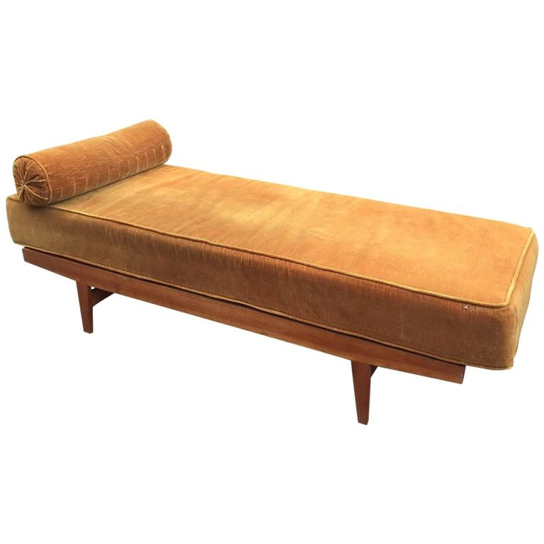 1950s Daybed in Pine, Seat and Cushion Covered with Velvet