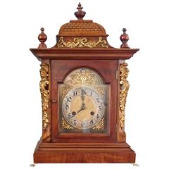 19th Century German Bell-Top Walnut Bracket Mantel Clock by Junghans