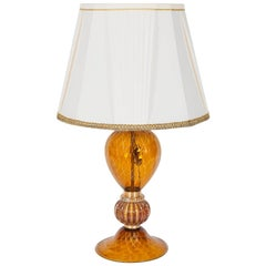 Italian Venetian, Table Lamp,  Blown Murano Glass, Amber & 24-Karat Gold, 1980s