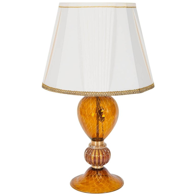 Italian Table Lamp in Blown Murano Glass Amber & 24-Karat Gold 1980s For Sale