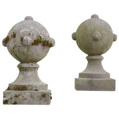 Pair of Geometric Blue Stone Garden Ornaments