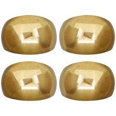 Set of Five Large Solid Brass Wall Lights Sconces by Florian Schulz