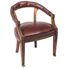 19th Century Second Empire Mahogany Tub Arm Desk Chair