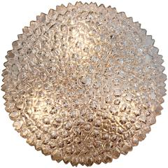 Large 1970s Organic Textured Clear Ice Crystal Glass Flush Mount by Limburg