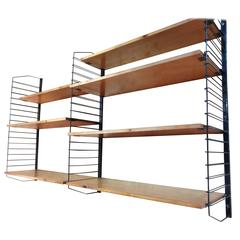 1950's Vintage Industrial Retro Metal and Light Wooden Shelving / Wall Unit