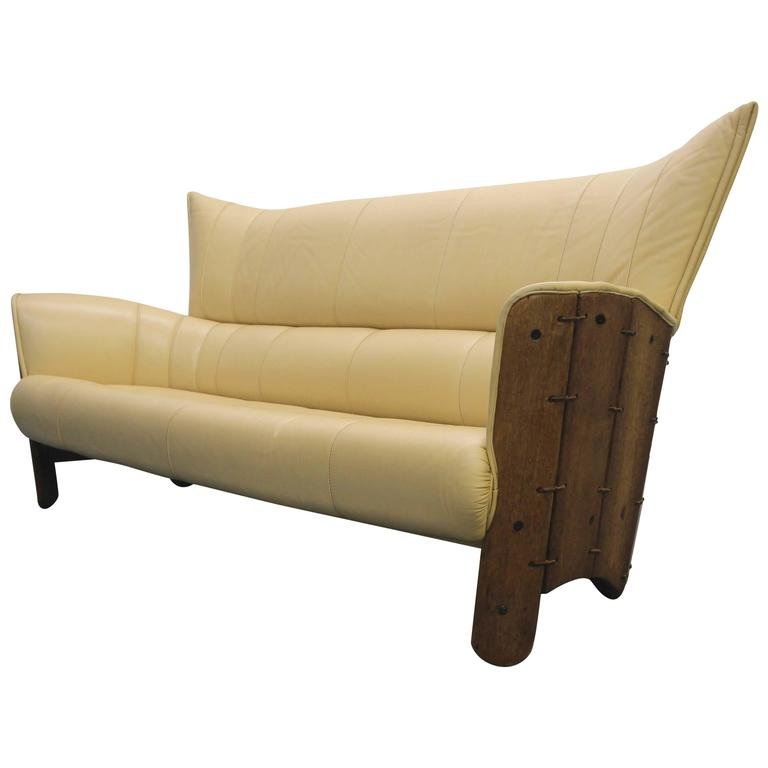 Captivating Pacific Green Moorea Palm Wood And Leather Sofa 1