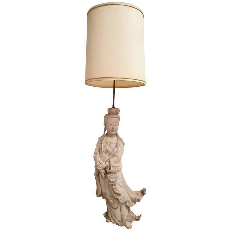 1950s Plaster Tall Table Lamp in the Style of James Mont