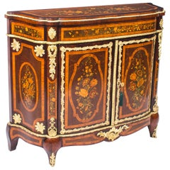 19th Century French Amboyna and Floral Marquetry Side Cabinet