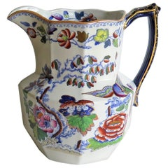 Large Mason's Ironstone Jug or Pitcher in Flying Bird Pattern, 19th Century
