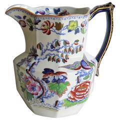 Large Mason's Ironstone Jug or Pitcher Flying Bird Pattern, Late 19th Century