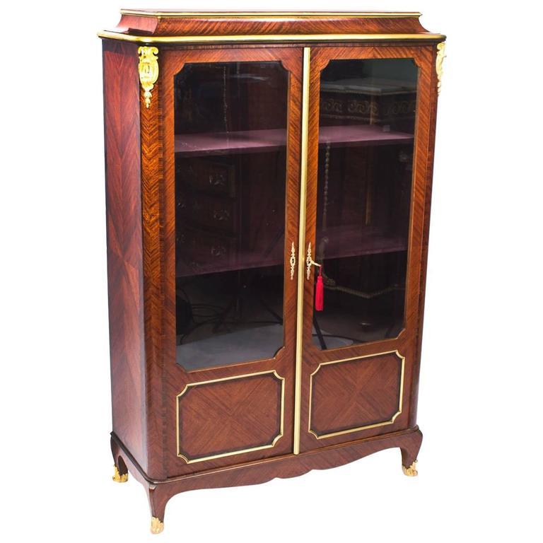 19th Century French Ormolu-Mounted Kingwood Display Cabinet