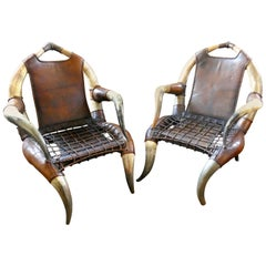 Pair of Antique African Large Bull or Cow Horn Leather Armchairs