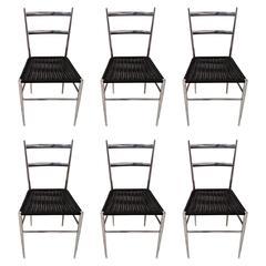 Set of Six Leggera Chrome Chairs Attributed to Gio Ponti, Bijenkorf, 1960s