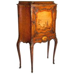Extremely Fine Shaped 19th Century French Marble-Topped Marquetry Cabinet
