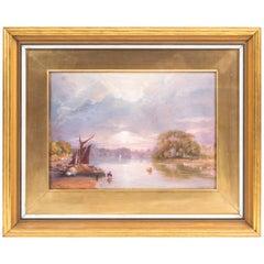 19th Century Watercolor Thames at Twickenham J C Bourne