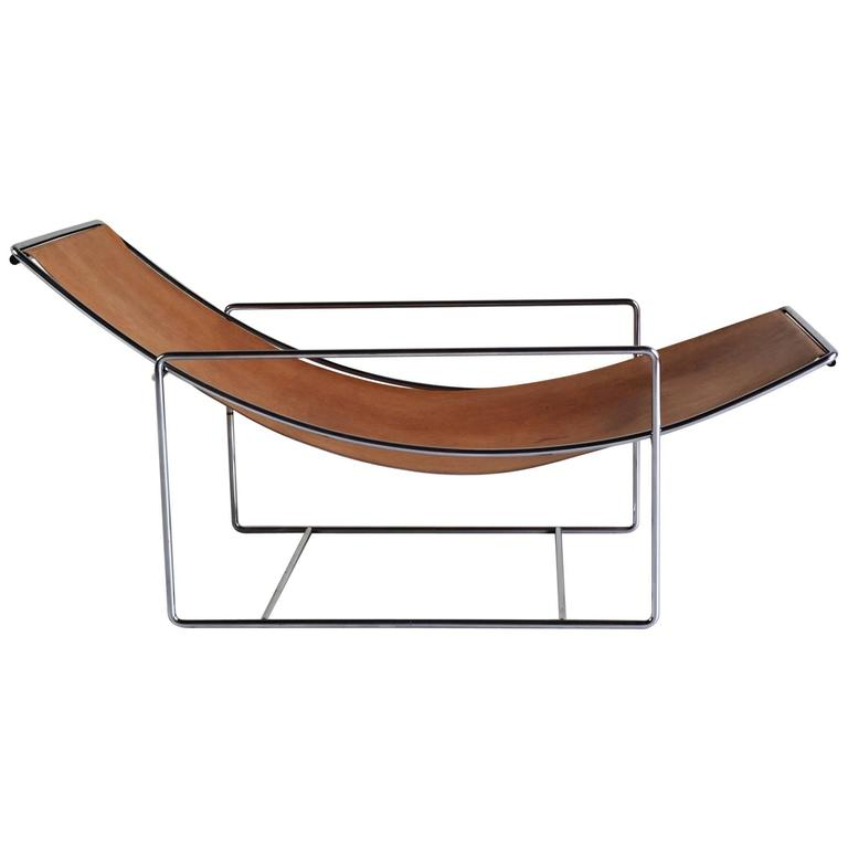 Minimalist lounge chair fawn leather and chrome 1970 at for Minimalist lounge