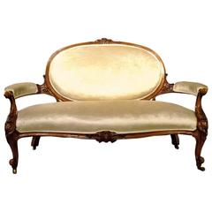 Good Carved Walnut Victorian Period Antique Settee or Sofa