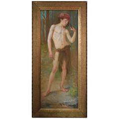 Boy with a Bird Painting  by Dutch Artist Albert Dumoulin 1910