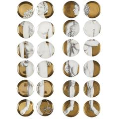 24 Vintage Piero Fornasetti Gold Adam & Eve Porcelain Plates