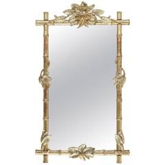 French Late 19th Century Bamboo Hand-Carved Giltwood Mirror, circa 1880