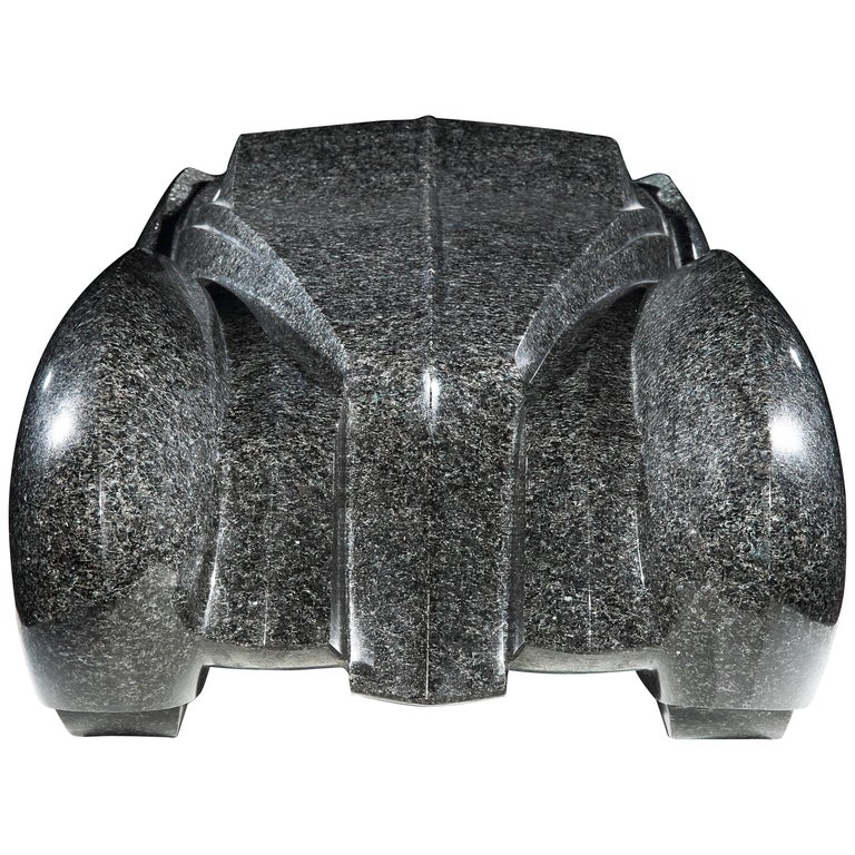Unique Automobile Sculpture in Granite by Emmanuel Zurini, 1986