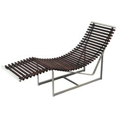 Italian Rosewood and Anodized Metal Lounge Chair, 1980s