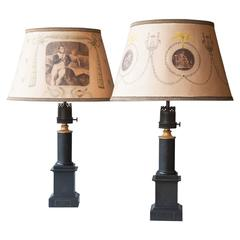 Pair of Early 19th Century Painted Tole Lamps with Handmade Parchment Shades