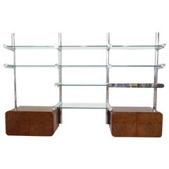 Polished Aluminum and Glass Orba Wall Unit Janet Schweitzer for Pace