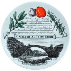 Piero Fornasetti Recipe Plate Piatti Tipici #1, Gnocchi Al Pomodoro, 1971