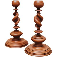 19th Century Palmwood Pair of Twisted Candlesticks