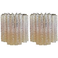 Mid-Century Murano Sconces by Venini, Pair