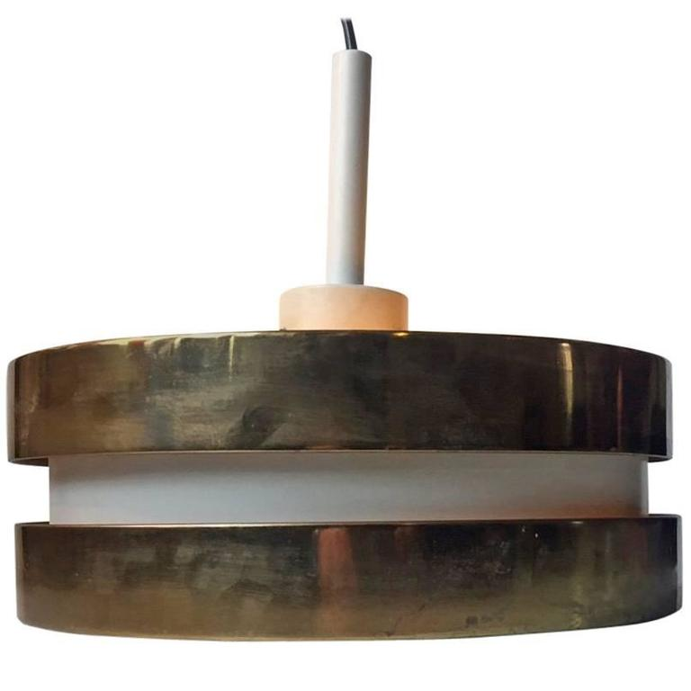 Brass & Crystal Flying Saucer Pendant Lamp by Lisa Johansson-Pape, Orno Finland