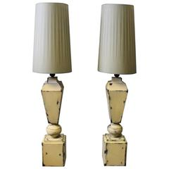 Tall Tablelamps of Painted Metal with Grey Lamp Shades, 1960s