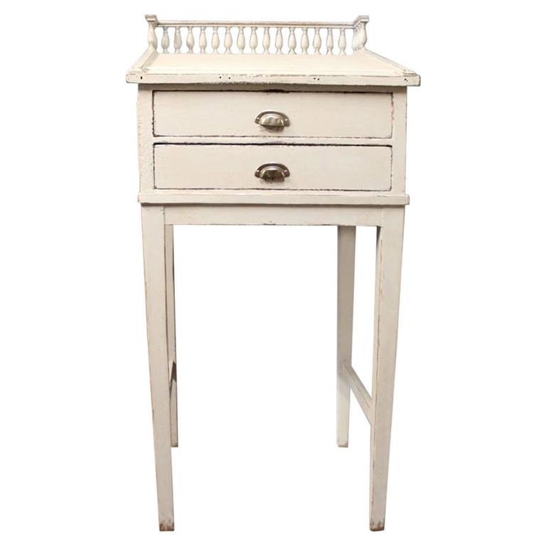 Grey Painted Writing Desk in the Style Gustavian from the 1840s
