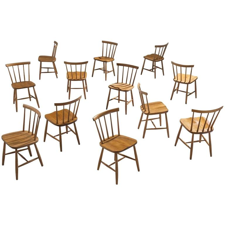 Large Set Of Ercol Beech Dining Chairs For Sale