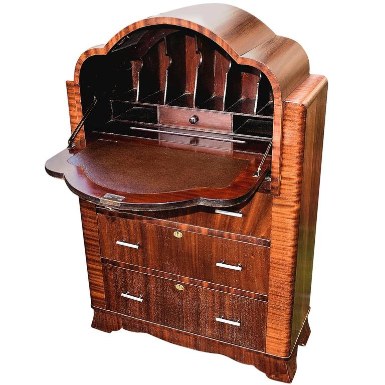 English 1930s art deco mahogany cloud bureau for sale