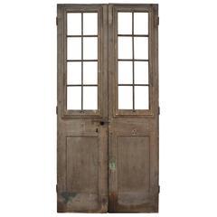 Pair of English Antique Pine Wooden Doors Decorative Garden Home Feature