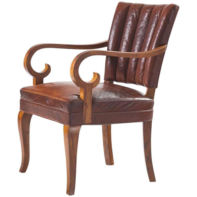 Danish Armchair in Original Leather and Walnut