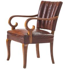 Danish Armchair in Original Leather and Walnut