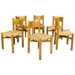 "Set of Six Charlotte Perriand ""Meribel"" Chairs, circa 1950, France"