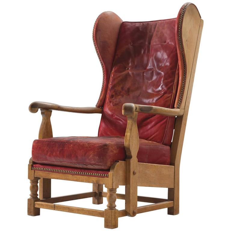Red Leather Wingback Chair For Sale: Danish Red Leather And Oak Wingback Chair For Sale At 1stdibs