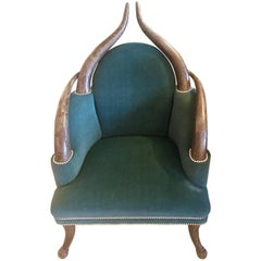 Striking Faux Horn Armchair with Teal Velvet Upholstery