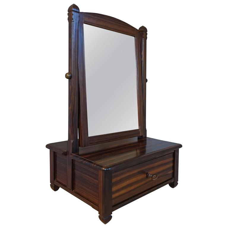 Stunning Little Art Deco Solid Macassar Ebony Vanity with Drawer and Mirror