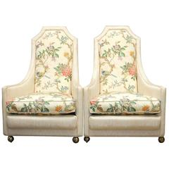 Pair of Adrian Pearsall Style High Back Lounge Chairs