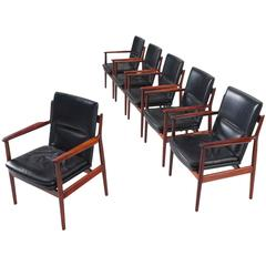 Arne Vodder Armchairs in Rosewood and Leather