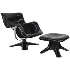 Yrjö Kukkapuro Leather Karuselli Lounge Chair and Ottoman