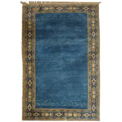 Good Hand-Knotted Turkish Arisaman Rug with Plain Indigo Blue Field