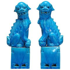 Pair of Chinese Turquoise Glazed Foo Dogs