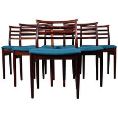 Stunning Set of Set Dining Chairs in Rosewood Designed by Erling Torvits