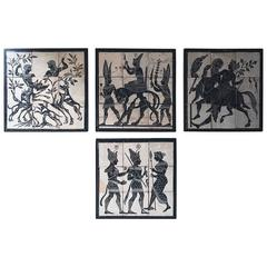 Group of Four Mid-20th Century Italian Hand-Painted Roman Mosaic Tile Panels